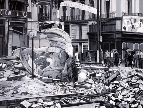 Caídos del Cielo. La defensa de Madrid  Acrílico sobre tela  97 x 130 cm  2012