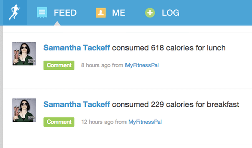 MyFitnessPal calories consumed displayed in RunKeeper fitness feed