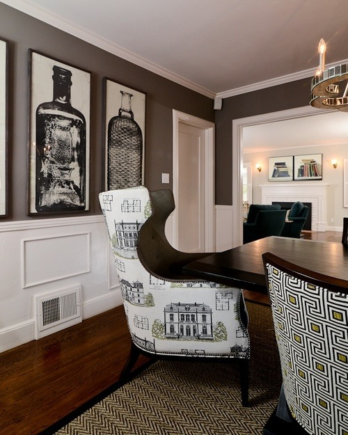 wingback chairs in contemporary dining room decor