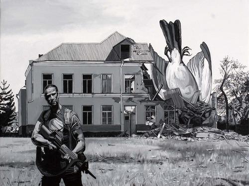 Caídos del Cielo. Punisher  Acrílico sobre tela  97 x 130 cm  2012