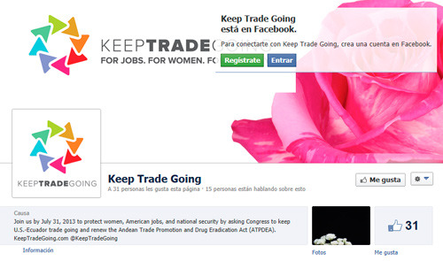 Página en Facebook de keep trade going