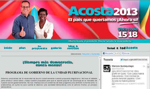 es muy difícil encontrar la página web de Alberto Acosta en Google