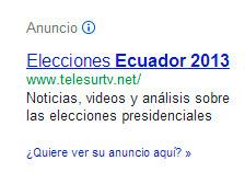 Telesur y su publicidad en Adwords por las elecciones en el Ecuador