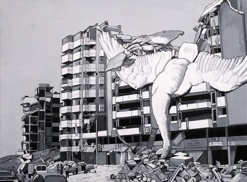 Caídos del Cielo. Death of the ugly duckling  Acrílico sobre tela  97 x 130 cm  2012