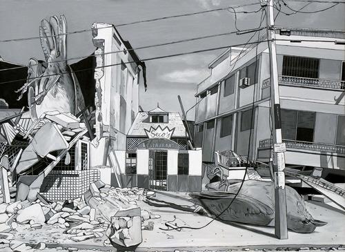 Caídos del Cielo. Seco's Restaurant  Acrílico sobre tela  97 x 130 cm  2012