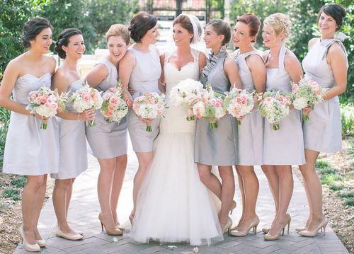 Pink & Gray Wedding Flowers