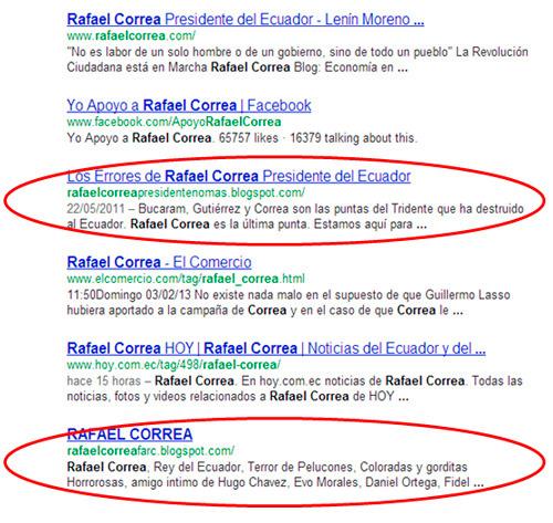 Búsqueda por Rafael Correa en Google - también se muestra resultados negativos