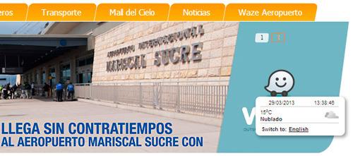 banner del aeropuerto Mariscal Sucre