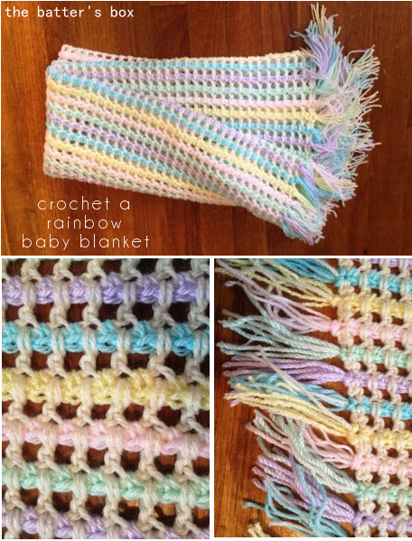 Crochet Rainbow Baby Blanket with Tassles | free pattern translation || the batter's box.
