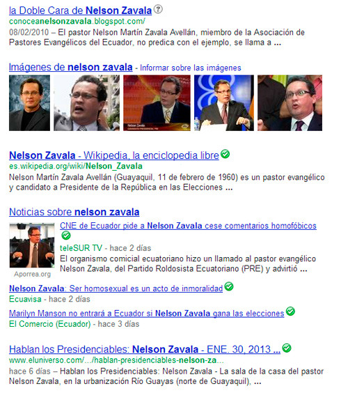 Nelson Zavala no tiene una presencia fuerte en el motor de búsqueda más grande del mundo