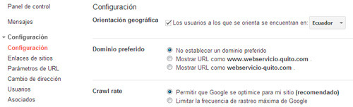 Google: puedes utilizar las herramientas para webmaster para determinar la orientación geográfica de tu sitio web