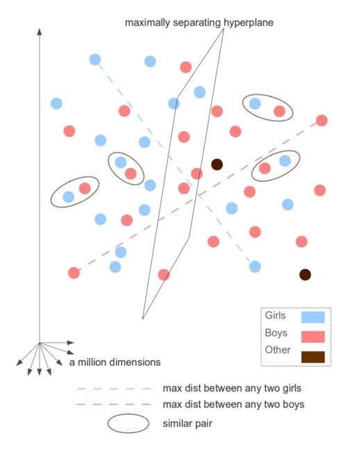 differences between men and women in a billion-dimensional space