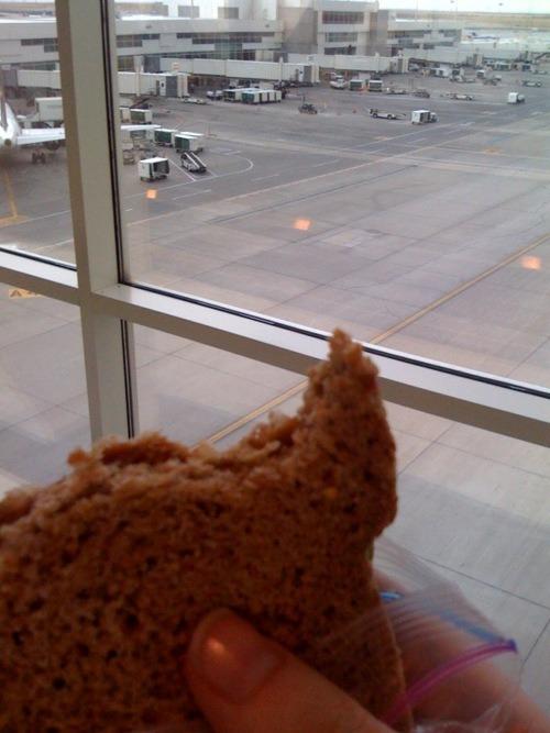 Almond butter on Ezekiel bread in a baggie.