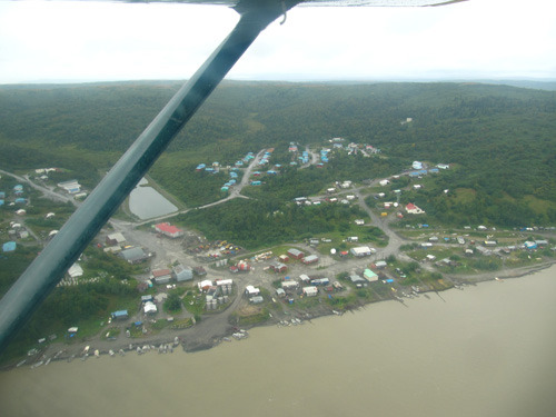 Pilot Station from the air above the Yukon River - Summer