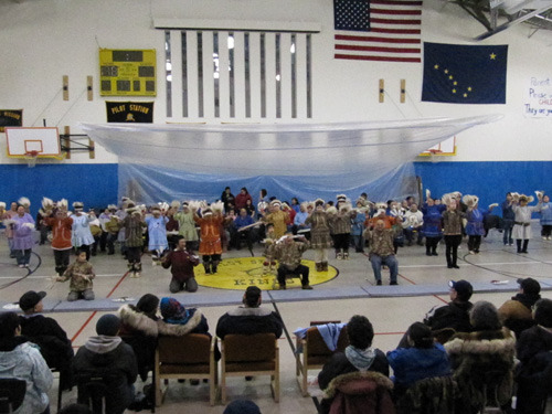 Potlatch dance celebration in the Pilot School gym