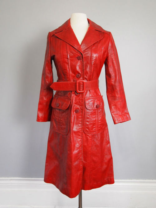 25364ae54 Vintage 1970s lipstick red belted spy trench. $65 on eBay. Incredible  vintage ivory wool, mohair and leather coat on ...