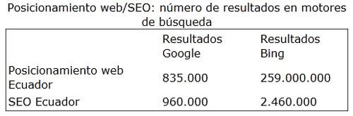 SEO/Posicionamiento web: Número de resultados en motores de búsqueda