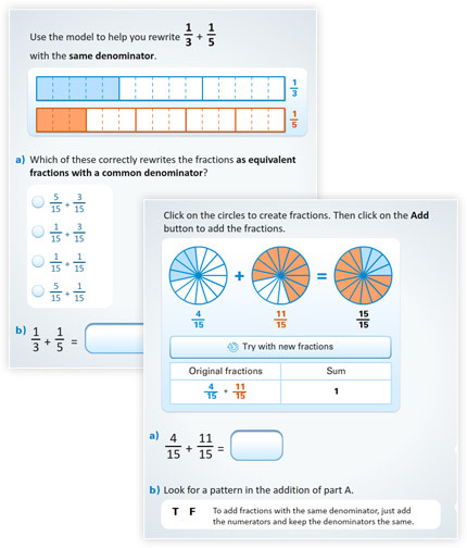 New buzzmath document adding fractions using models blog at times students fail to realize that different denominators reflect different sized unit fractions and adding fractions requires a common unit fraction ccuart Gallery