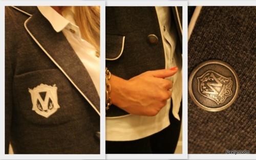 Club Monaco equestrian emblem blazer