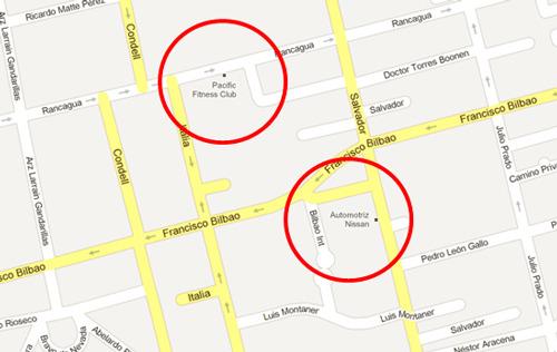 Google Maps de Santiago de Chilecon entradas permanentes