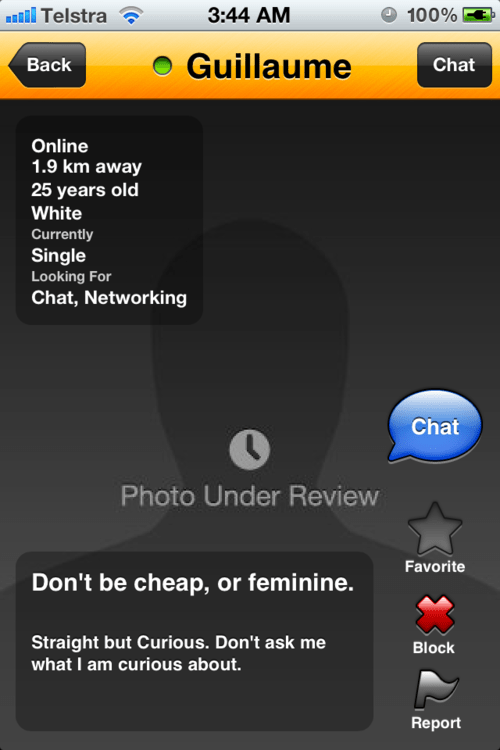 Grindr photo under review
