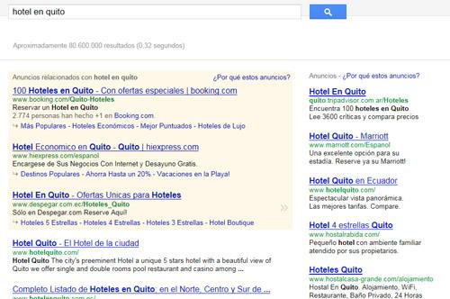 búsqueda en Google - hoteles en Quito