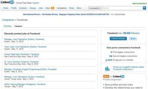 Linkedin Job results page