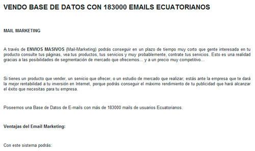 Oferta de comprar correos electrónicos de internautas del Ecuador - no lo hagas