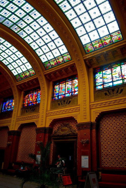The beautiful interior of the Gellert Baths in Budapest, Hungary