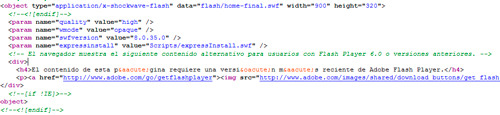 código html de un banner de flash con el contenido alternativo