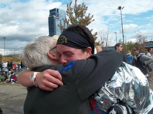 hugging and crying