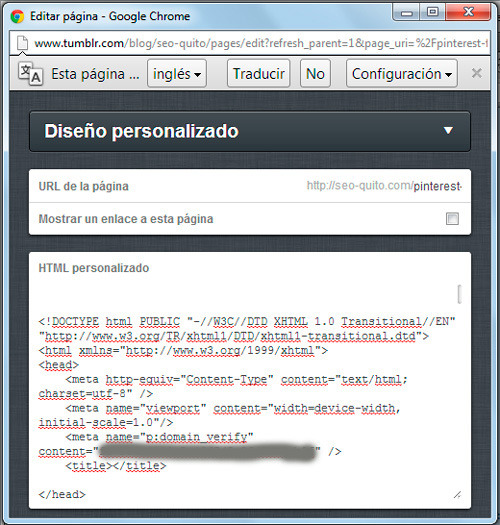 Crear página en tumblr para verificación de Pinterest