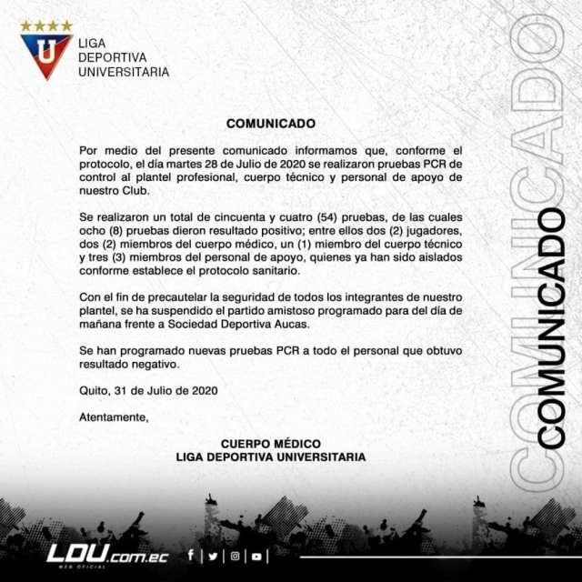 Liga de Quito, rival de River, con ocho positivos de coronavirus