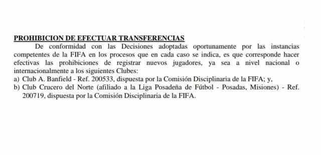 La FIFA sancionó a Banfield con prohibición para incorporar