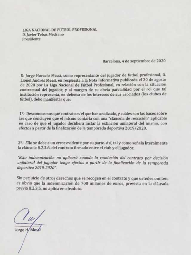 Comunicado de Messi: desconoce la cláusula de 700 millones de euros