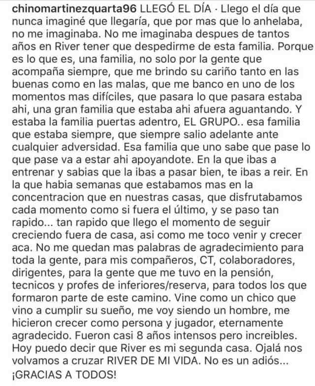 El mensaje de despedida de Martínez Quarta a River: 'Ojalá nos volvamos a cruzar'