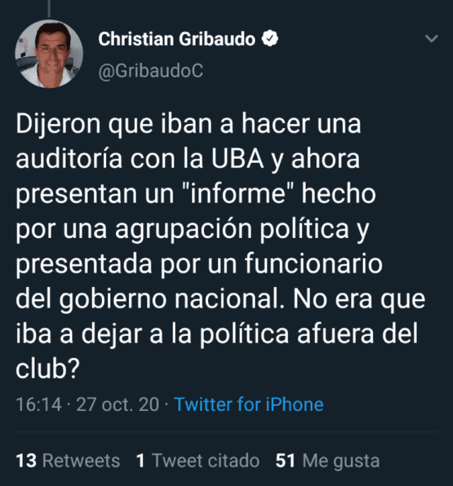 La dura respuesta de Christian Gribaudo a Jorge Ameal por la auditoría en Boca