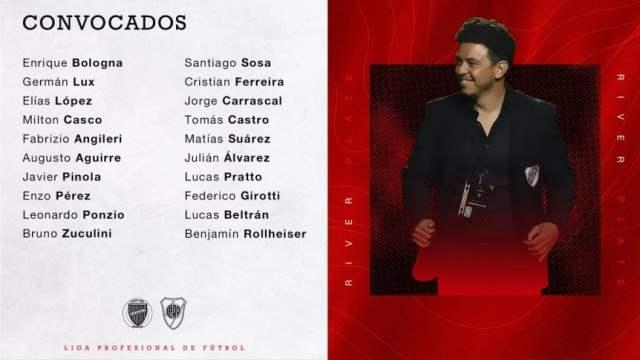 Sin Moreira y con un debutante: los concentrados de River para ir a Mendoza