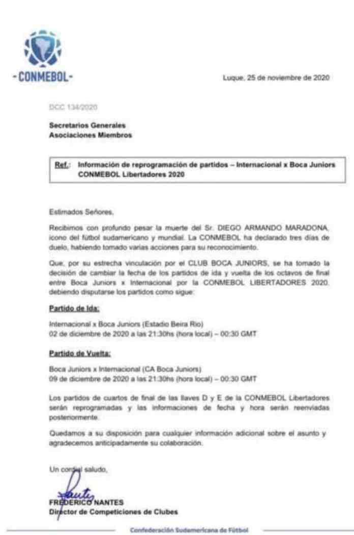 Inter-Boca, suspendido por la muerte de Maradona, ya tiene fechas confirmadas