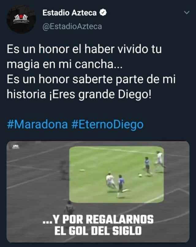El Estadio Azteca homenajeó a Diego Maradona en el arco de los goles a Inglaterra en el Mundial