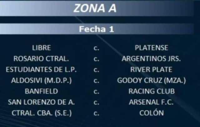Fixture de la primera fecha de la Copa LPF 2021
