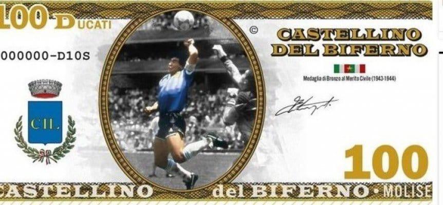 Diego Maradona ya tiene billetes y monedas con su imagen en Italia