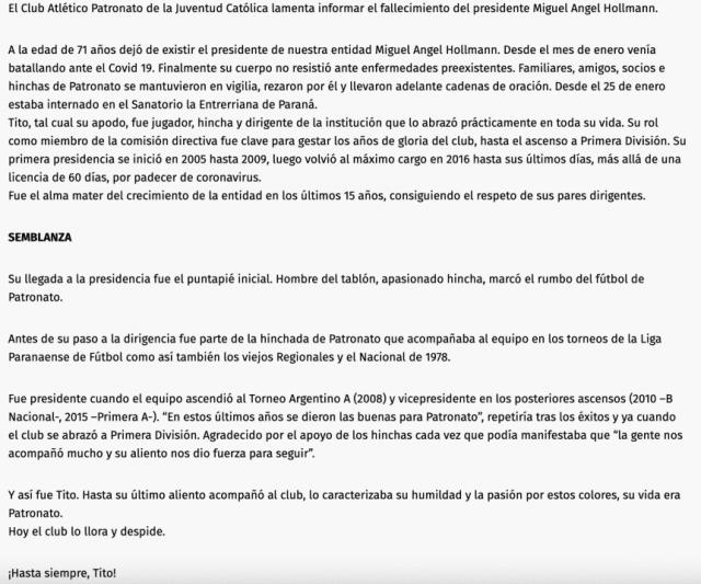 Dolor en Patronato: Falleció el presidente Miguel Ángel Hollmann