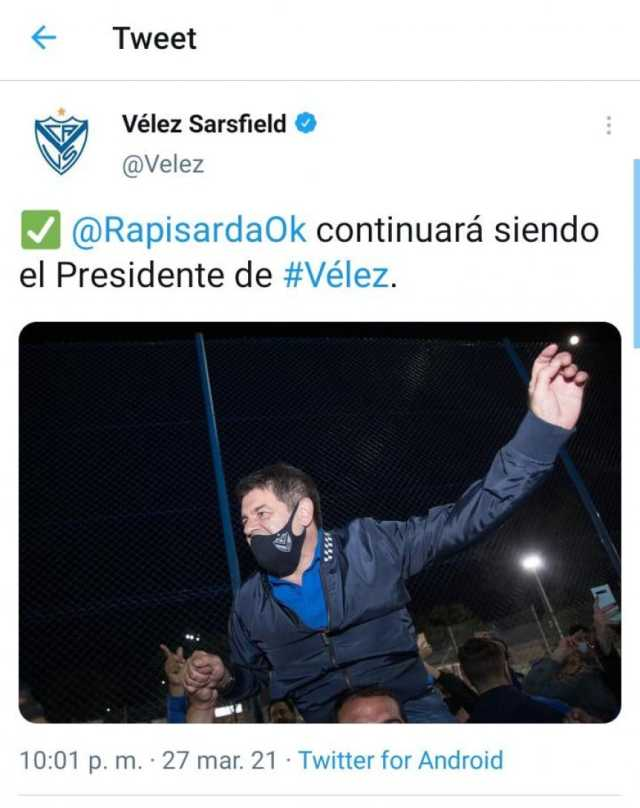 Elecciones en Vélez: Rapisarda fue reelecto como presidente