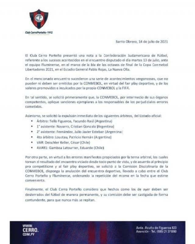 Comunicado Cerro