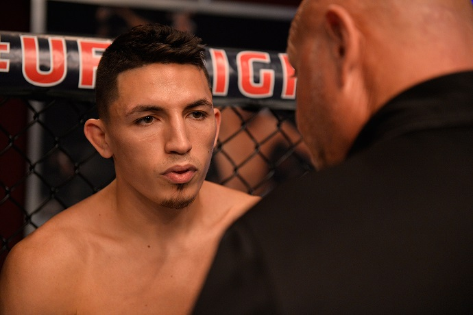 LAS VEGAS, NV - JULY 17: Vince Morales enters the Octagon before facing Domingo Pilarte in their bantamweight fight during Dana White's Tuesday Night Contender Series at the TUF Gym on July 17, 2018 in Las Vegas, Nevada. (Photo by Chris Unger/DWTNCS LLC)