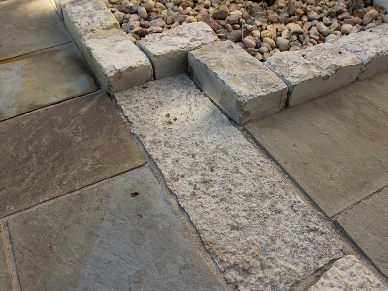 Limestone detail within Bluestone