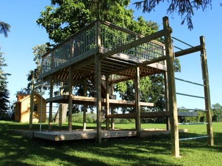 Playground, sandbox, monkey bars