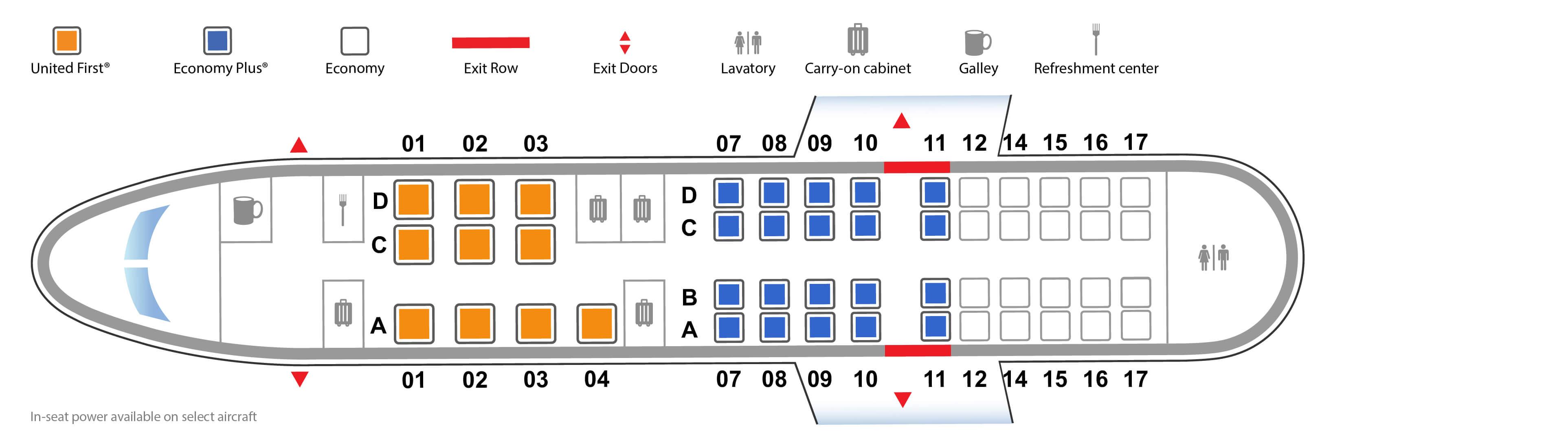 Stoelindeling CRJ-550 van United (Bron: United)