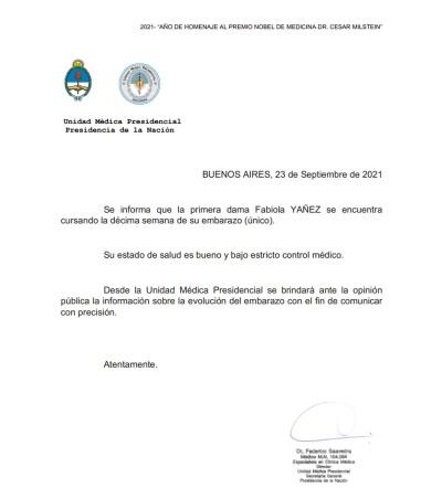 El Gobierno confirmó el embarazo de Fabiola Yáñez.